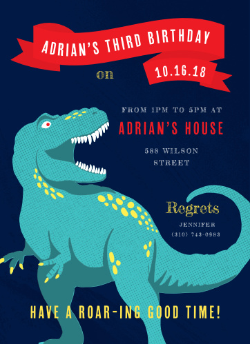 Enjoy a Roaring good time with this the Roaring Rex Children's Birthday Party Invitations.