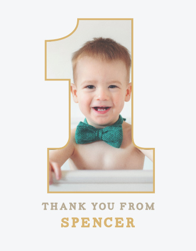 Send your appreciation to your loved ones with the Simply One Foil First Birthday Party Thank You Cards.