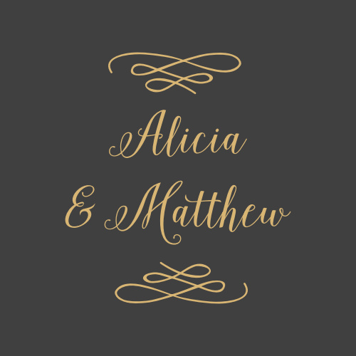 Frame your names with the elegant embellishments of the Whimsical Calligraphy Foil Stickers.