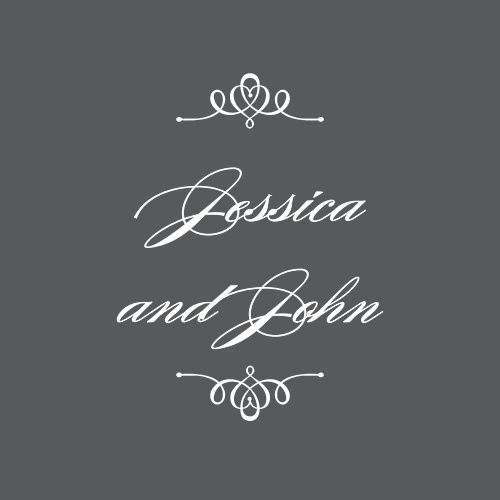 Personalize the Elegant Script Stickers with your names in an ornate typeface.