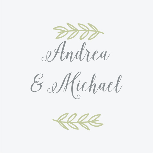 Elegant greenery accents your names on the Romantic Evergreen Stickers.