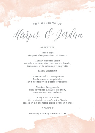 Beautiful splashes of colors line the top and the bottom of the Dip Dye Wedding Menus.
