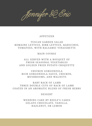 Lay out your reception dinner with the timeless style of the Modern Forever Wedding Menus.