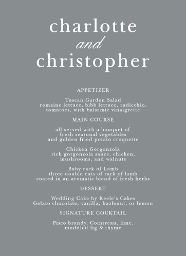 Lay out your dinner options with the beautiful simplicity of the Sophisticated Typography Wedding Menus.