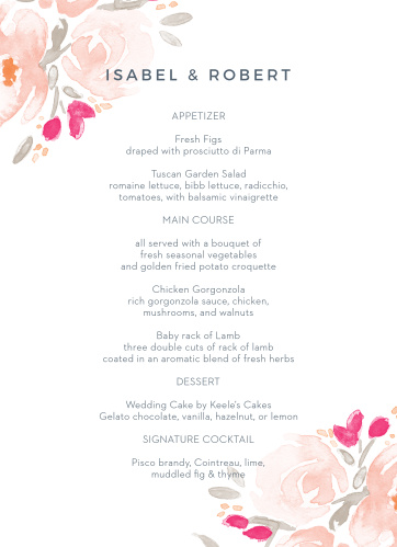 Add your dinner options to the soft elegance of the Watercolor Bouquet Wedding Menus.