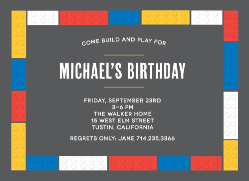 Show off your inner builder with the Building Bricks Children's Birthday Party Invitations.