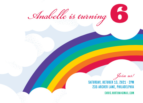 Bring color to your Party Invitation with the Radiant Rainbow Children's Birthday Party Invitations!