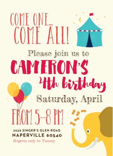 Come One, Come All, and see the amazing Silly Circus Children's Birthday Party Invitations!