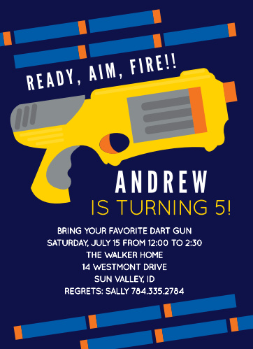 Prepare your friends for an epic dart gun battle with the Dart Battle Children's Birthday Party Invitations.