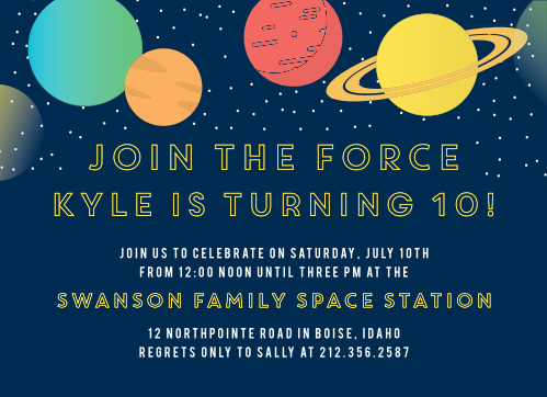 Space Birthday Invitations Match Your Color Style Free