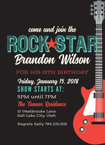 Let your inner Rock Star out with the Rock Star Children's Birthday Party Invitation!