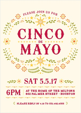 Invite friends and family to celebrate Mexican-American culture with the Cinco Celebration Party Invitations.