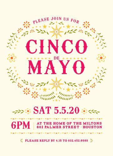Invite friends and family to celebrate Mexican-American culture with the Cinco Celebration Cinco de Mayo Party Invitations.