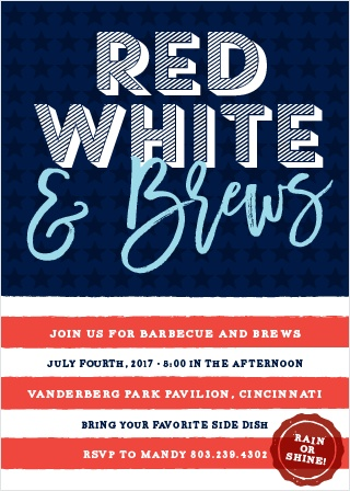 The Red, White & Brews Party Invitations are perfect for a fourth of July barbecue.