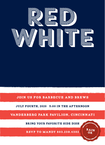 The Red, White & Brews Independence Day Party Invitations are perfect for a fourth of July barbecue.