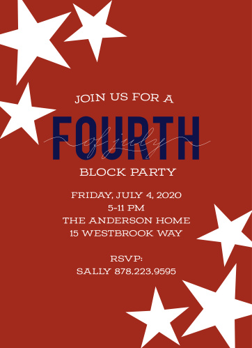 Get the whole neighborhood involved in your Independence Day celebrations with the Bold Patriotic Independence Day Party Invitations.