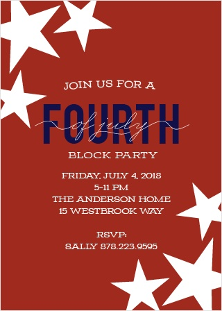 Get the whole neighborhood involved in your Independence Day celebrations with the Patriotic Party Invitations.