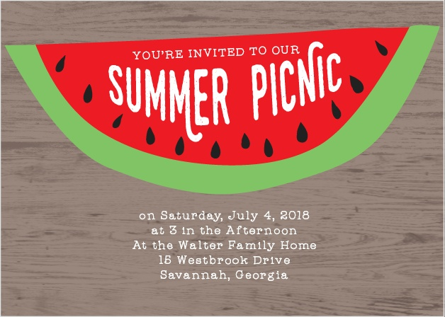 Get your guests excited for a summer picnic with the Mouthwatering Melon Party Invitations.