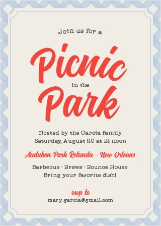 A cute gingham background gives the Picnic in the Park a quaint, country feel.