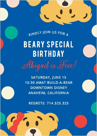 "Invite friends for a ""beary"" special day with the Teddy Bear Party Invitations."