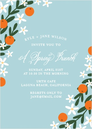Cheerful florals line the sides of the Springtime Luncheon Party Invitations.