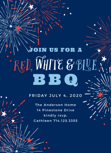 Light bursts all over the Fantastical Fireworks Independence Day Party Invitations.