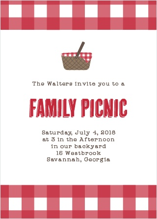 A gingham background similar to a tablecloth gives the Family Picnic Party Invitations a homey feel.