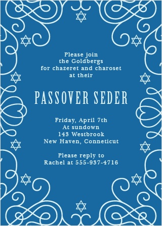 Swirls and stars create an elegant frame on the Sacred Seder Party Invitations.