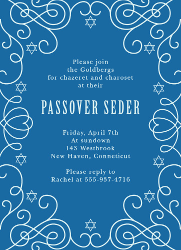 Swirls and stars create an elegant frame on the Sacred Seder Passover Party Invitations.