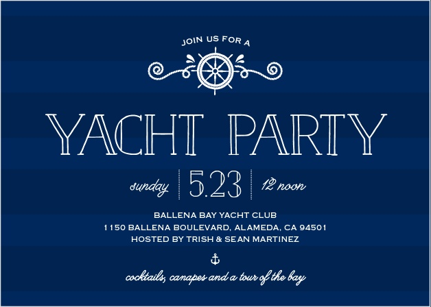 The Yacht Party Invitations' nautical design is perfect for your next bash at the bay.