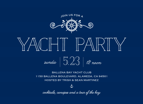 The Stunning Yacht Party Invitations' nautical design is perfect for your next bash at the bay.