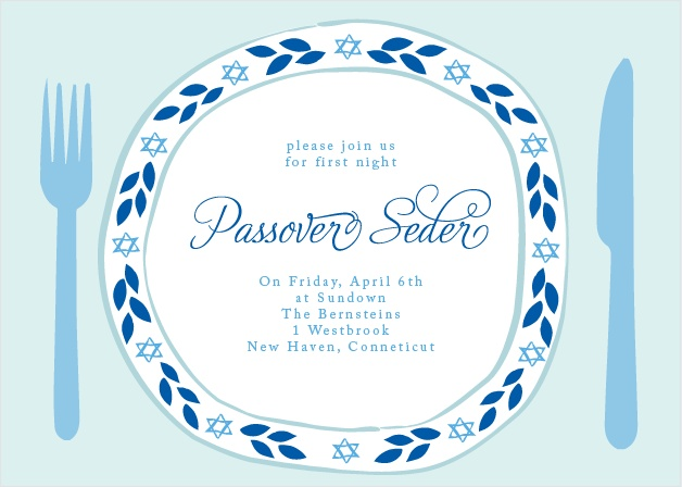 The Passover Plate Party Invitations' festive design is completely customizable.