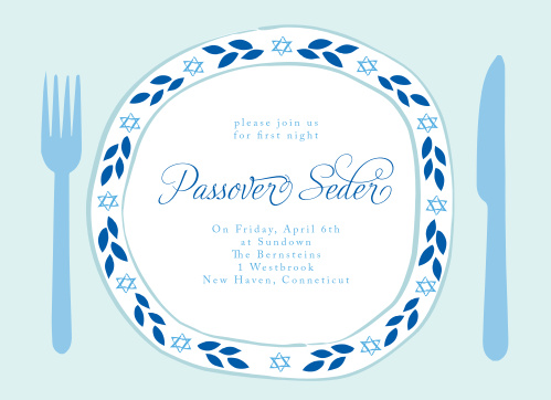 The Passover Plate Passover Party Invitations' festive design is completely customizable.