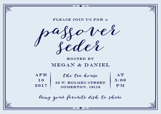Invite friends and family for a dignified celebration with the Formal Seder Party Invitations.