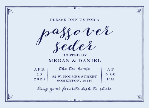 Invite friends and family for a dignified celebration with the Formal Seder Passover Party Invitations.