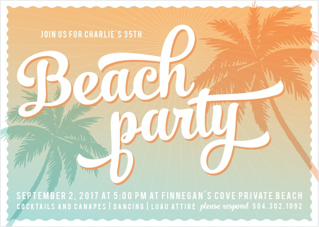 Throw the event of the summer with the Sunset Beach Party Invitations.