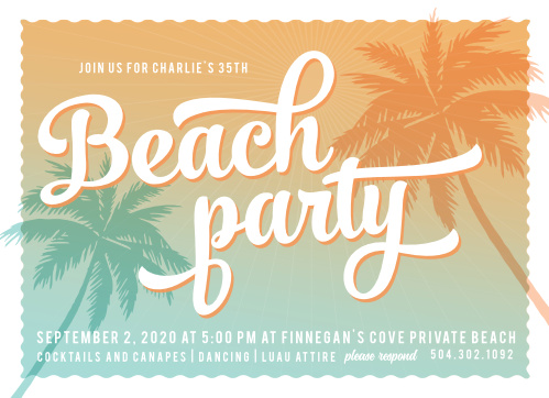 Throw the event of the summer with the Sunset Beach Milestone Birthday Party Invitations.