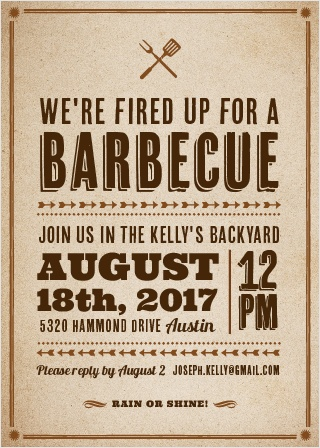Throw a backyard barbecue to remember with the BBQ Bash Party Invitations.