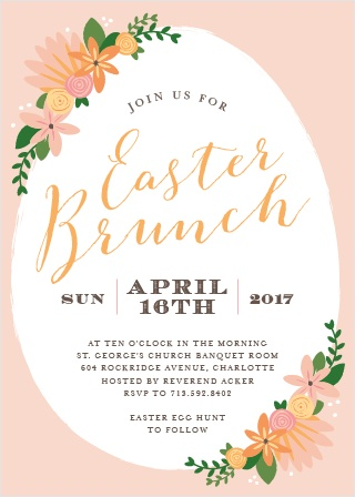 Festive flowers accent an egg-shaped frame on the Easter Florals Party Invitations.