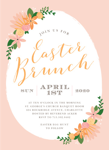 Festive flowers accent an egg-shaped frame on the Easter Florals Easter Party Invitations.