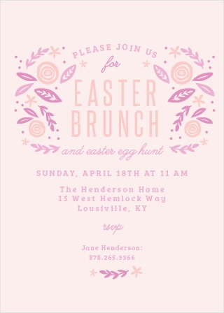 Trendy florals decorate the Easter Brunch Party Invitations.