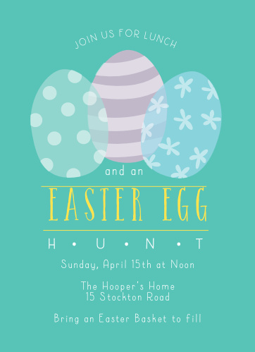 One striped, one polka dotted and one patterned egg decorate the Egg Hunt Easter Party Invitations.