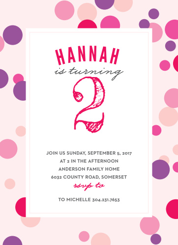 Share your special day by inviting guests with the Dotty Frame Girl Children's Birthday Party Invitations!