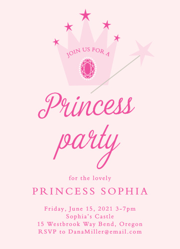 The Pretty Princess Children's Birthday Party Invitations has a beautiful tiara that you can add a splash of color that makes a simple yet perfect design for any guest to know about your Princess's party!