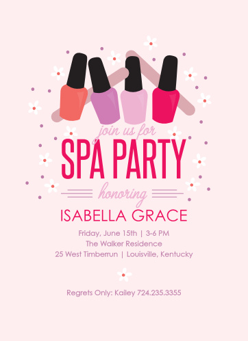 Gather friends for a pamper session with the Spa Day Party Invitations.