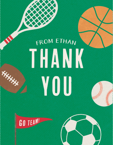 Lil Ballers Childrens Birthday Party Thank You Cards