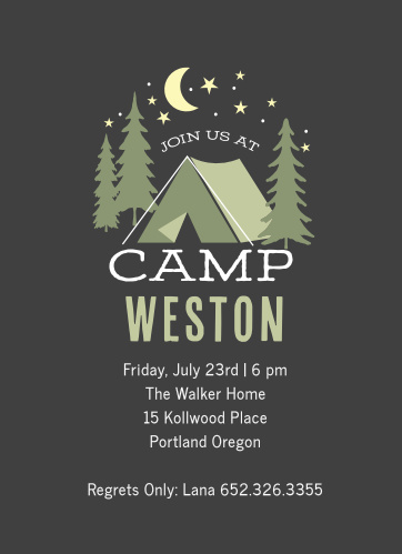 Camping birthday invitations match your color style free cascades camping childrens birthday party invitations filmwisefo