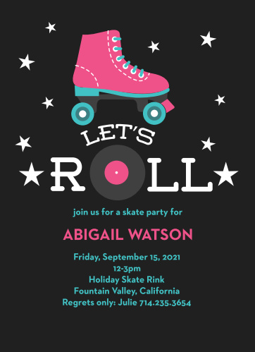 Get friends to the roller rink with the Let's Roll Children's Birthday Party Invitations.