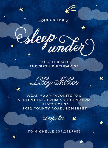 Invite friends for a night under the stars with the Sleep Under Children's Birthday Party Invitations.