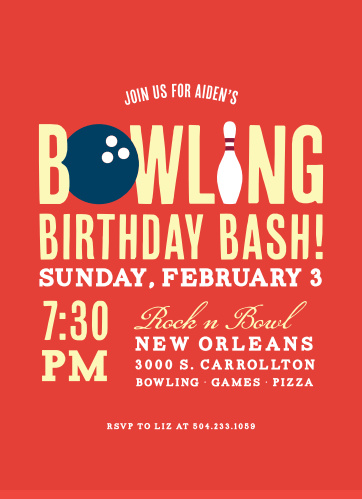 The Bowling Bash Children's Birthday Party Invitation is a fun bowling themed invitation featuring a bowling ball and pin incorporated into the text and your choice of typography.